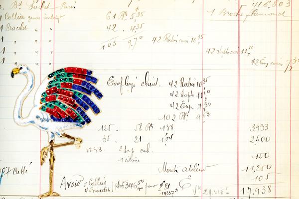 卡地亚火烈鸟胸针手绘图