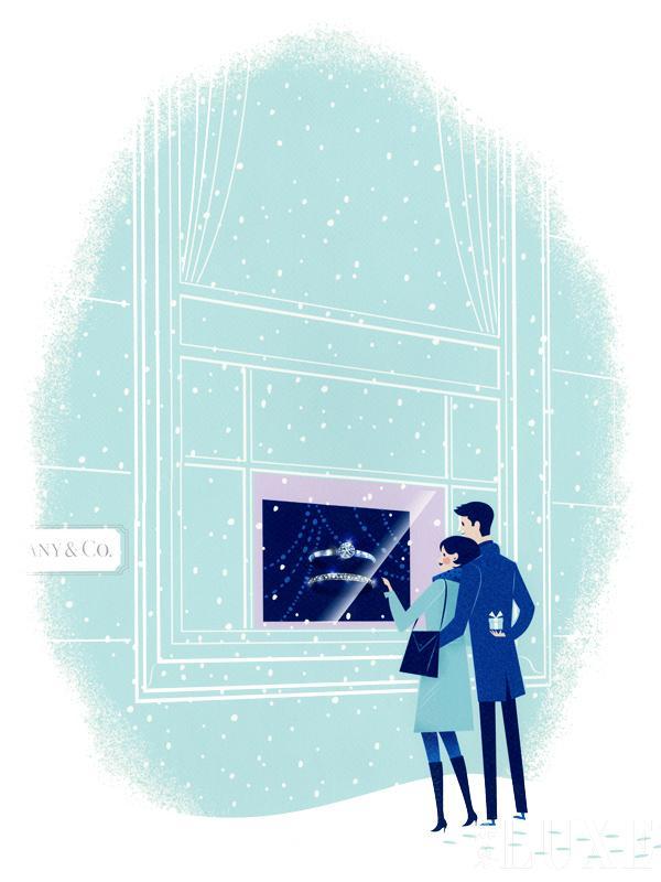 蒂芙尼2014圣诞橱窗设计插画:真爱情侣在蒂芙尼第五大道旗舰店橱窗前